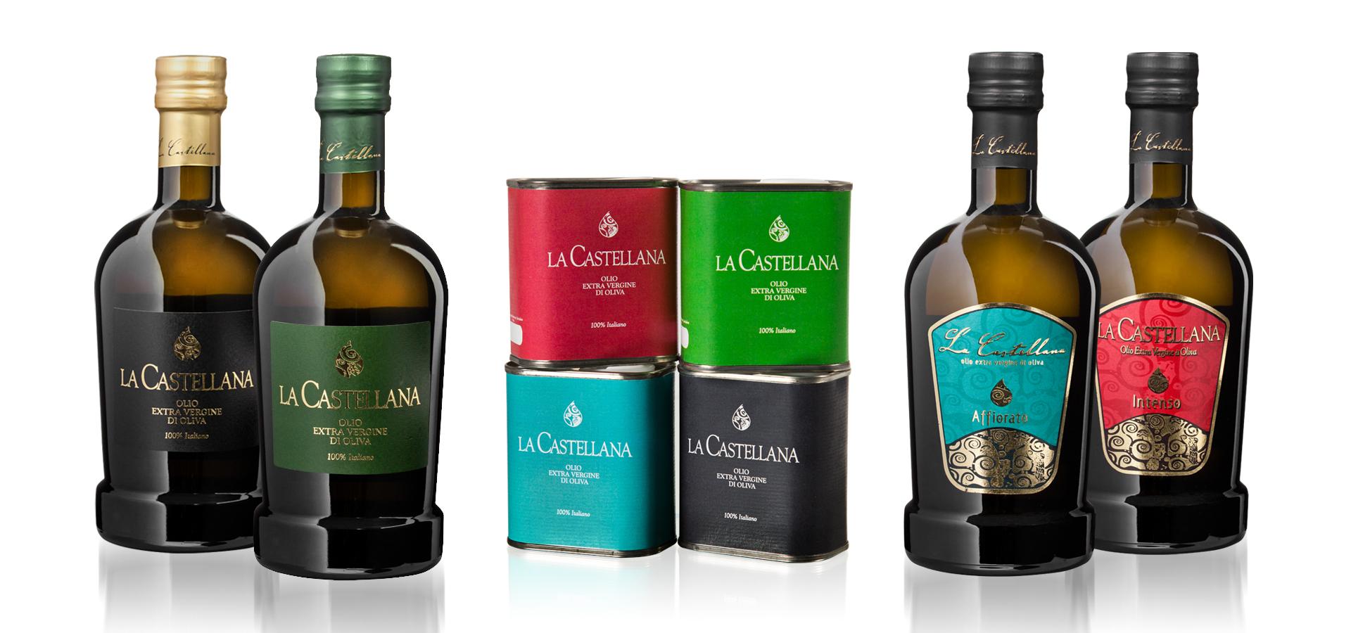 Olio evo tenuta castellana: olio affiorato, olio intenso, olio fruttato e olio delicato